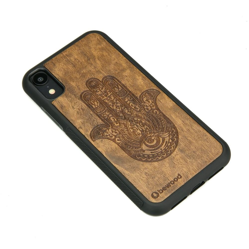 Drewniane Etui iPhone XR HAMSA IMBUIA