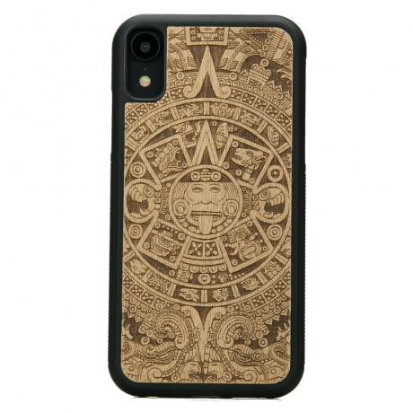 Drewniane Etui iPhone XR KALENDARZ AZTECKI ANIEGRE