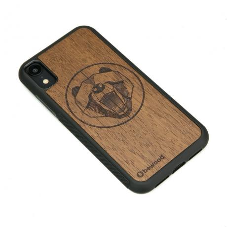 Drewniane Etui iPhone XR NIEDŹWIEDŹ MERBAU