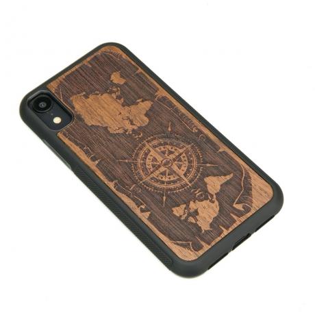 Drewniane Etui iPhone XR RÓŻA WIATRÓW MERBAU