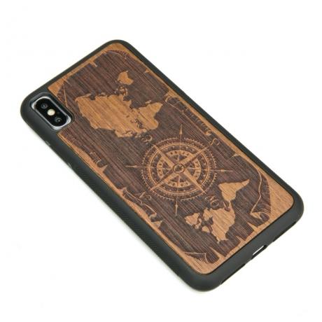 Drewniane Etui iPhone XS Max RÓŻA WIATRÓW MERBAU