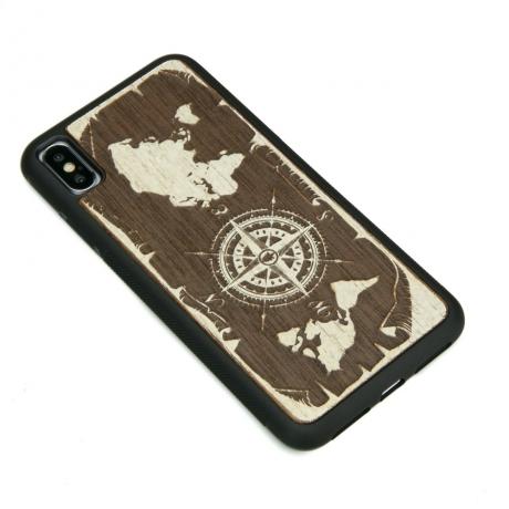 Drewniane Etui iPhone XS Max RÓŻA WIATRÓW MERBAU BIELONA