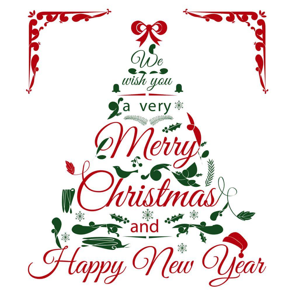 Biały kubek z choinką i świątecznymi życzeniami