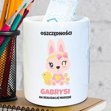 Skarbonka dla dziewczynki z imieniem (personalizowana)