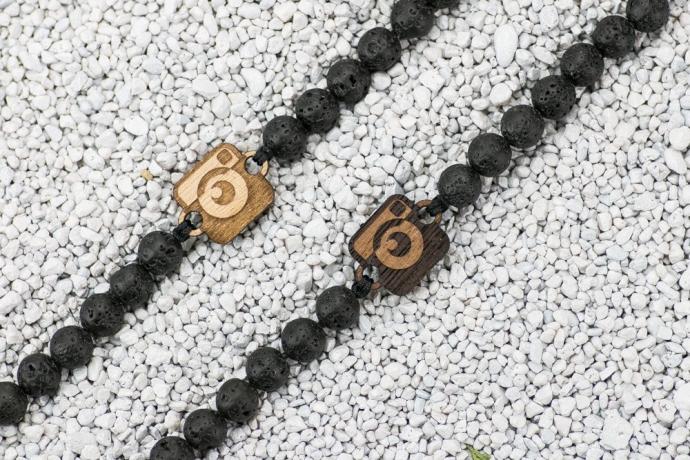 Drewniana bransoletka Aparat Aniegre Kamień Wulkaniczny