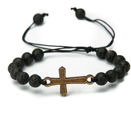 Drewniana bransoletka Krzyż Aniegre Kamień Wulkaniczny