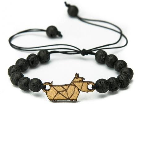 Drewniana bransoletka Pies 02 Aniegre Kamień Wulkaniczny