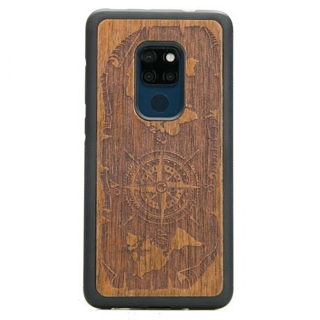 Drewniane Etui Huawei Mate 20 RÓŻA WIATRÓW MERBAU