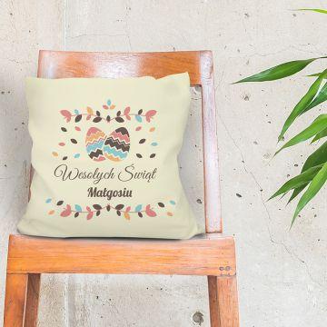 Poduszka wielkanocna dekoracyjna z napisem Wesołych Świąt i imieniem