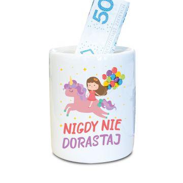 Skarbonka z motywem jednorożca (personalizowana) - 100% ceramika