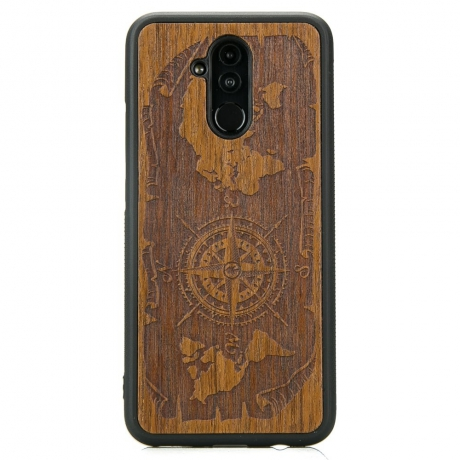 Drewniane Etui Huawei Mate 20 Lite RÓŻA WIATRÓW MERBAU