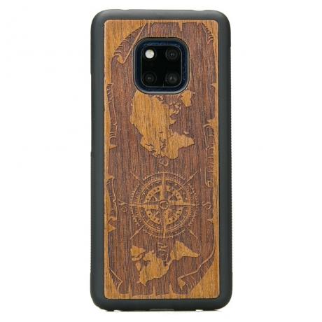 Drewniane Etui Huawei Mate 20 Pro RÓŻA WIATRÓW MERBAU