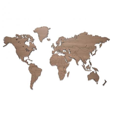 Mapa Świata Bewood - Magnetyczna - Surowa - Orzech Amerykański