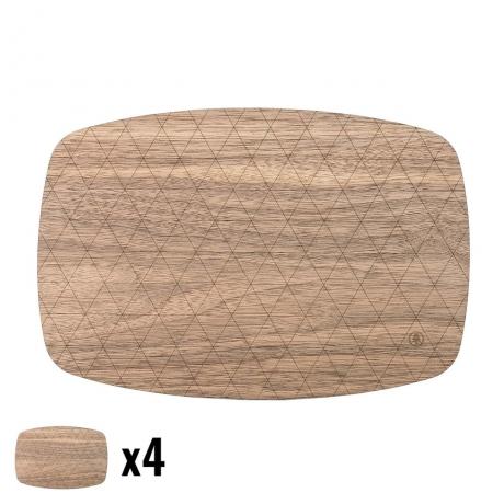Podkładki Drewniane Średnie Orzech Amerykański Komplet 4 szt.