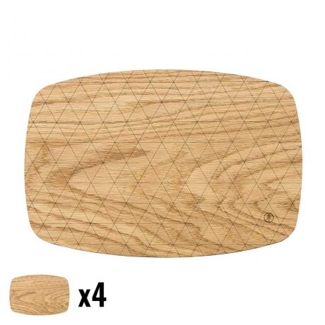 Podkładki Drewniane Średnie Dąb Komplet 4 szt.
