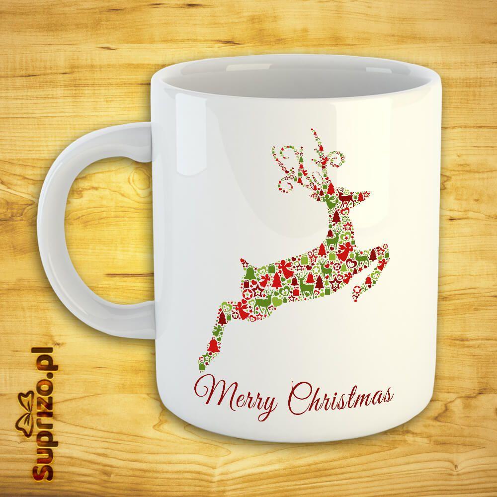 Biały kubek świąteczny z nadrukiem renifera