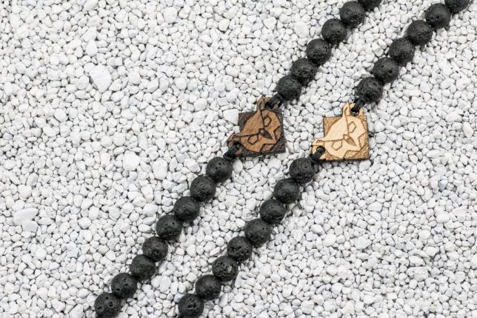 Drewniana bransoletka Sowa Aniegre Kamień Wulkaniczny