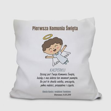 Poduszka komunijna dla chłopca personalizowana
