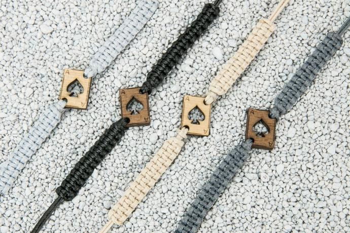 Drewniana bransoletka Karta Merbau Pleciona