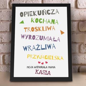 Plakat z napisami w ramce dla mamy