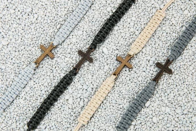 Drewniana bransoletka Krzyż Merbau Pleciona