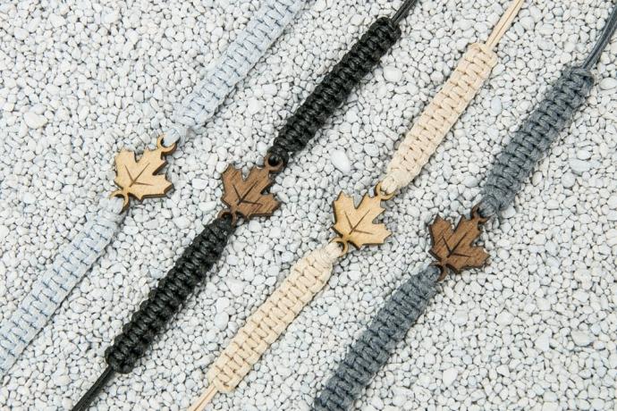 Drewniana bransoletka Liść Klonowy Merbau Pleciona