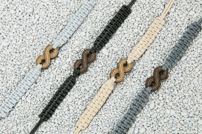 Drewniana bransoletka Nieskończoność Merbau Pleciona