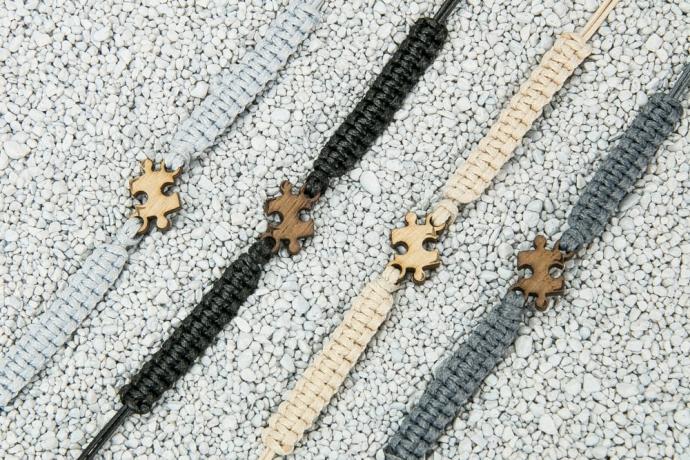 Drewniana bransoletka Puzzel Merbau Pleciona