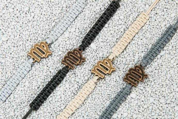 Drewniana bransoletka Znak Zodiaku - Panna - Aniegre Pleciona