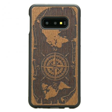 Drewniane Etui Samsung Galaxy S10e RÓŻA WIATRÓW MERBAU