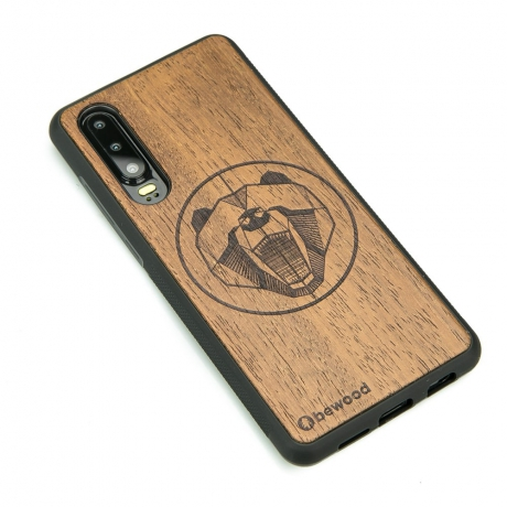 Drewniane Etui Huawei P30 NIEDŹWIEDŹ MERBAU