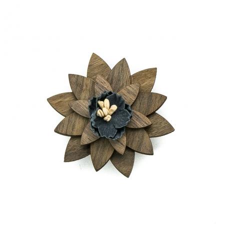 Drewniana wpinka / broszka Orzech amerykański Navy Blue