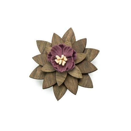 Drewniana wpinka / broszka Orzech amerykański Violet