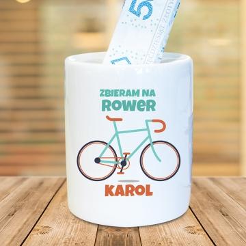 Skarbonka dla rowerzysty z imieniem (personalizowana)