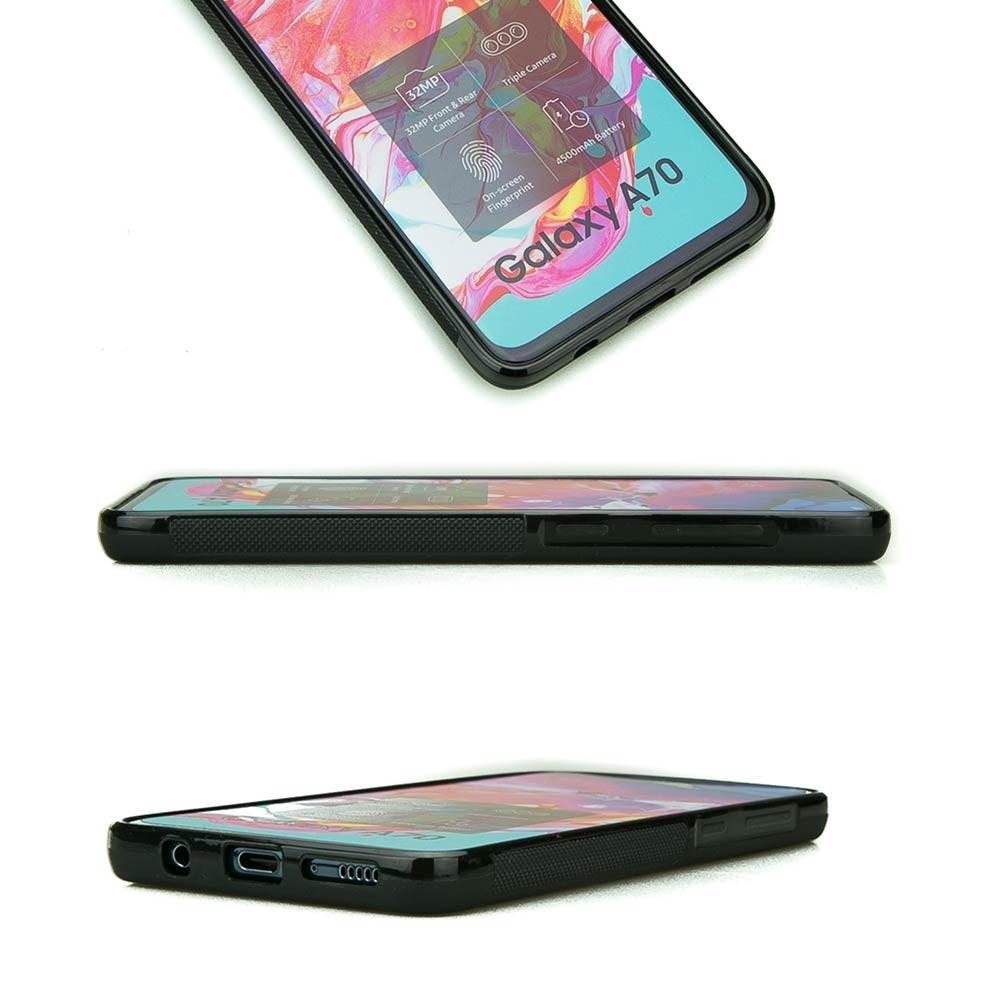 Drewniane Etui Samsung Galaxy A70 RÓŻA WIATRÓW MERBAU