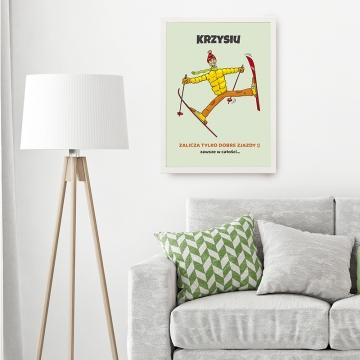 Plakat dla narciarza w ramce na ścianę