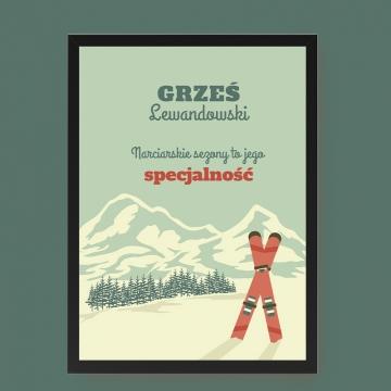 Plakat narciarski w ramce