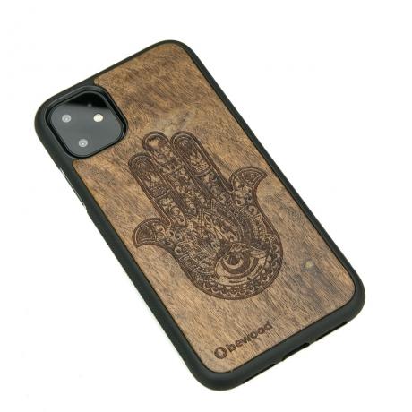 Drewniane Etui iPhone 11 HAMSA IMBUIA