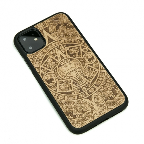 Drewniane Etui iPhone 11 KALENDARZ AZTECKI ANIEGRE