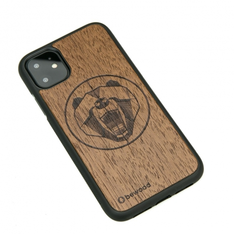 Drewniane Etui iPhone 11 NIEDŹWIEDŹ MERBAU