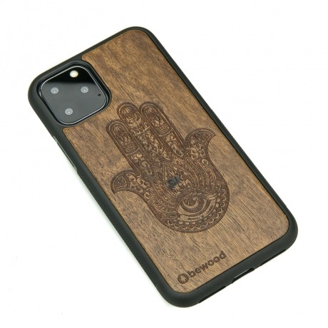 Drewniane Etui iPhone 11 PRO HAMSA IMBUIA