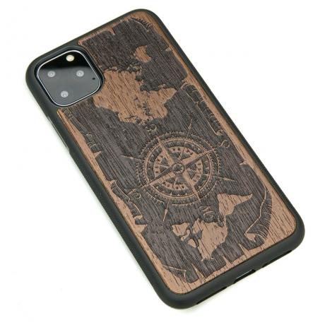 Drewniane Etui iPhone 11 PRO MAX RÓŻA WIATRÓW MERBAU
