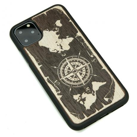 Drewniane Etui iPhone 11 PRO MAX RÓŻA WIATRÓW MERBAU BIELONA