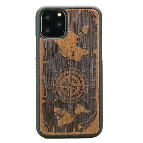 Drewniane Etui iPhone 11 PRO RÓŻA WIATRÓW MERBAU