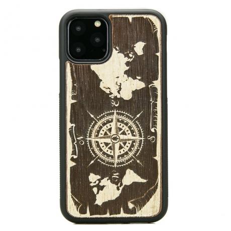 Drewniane Etui iPhone 11 PRO RÓŻA WIATRÓW MERBAU BIELONA