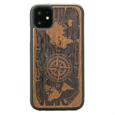 Drewniane Etui iPhone 11 RÓŻA WIATRÓW MERBAU
