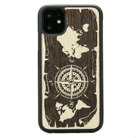 Drewniane Etui iPhone 11 RÓŻA WIATRÓW MERBAU BIELONA