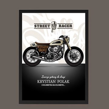 Plakat dla motocyklisty z personalizowanym napisem
