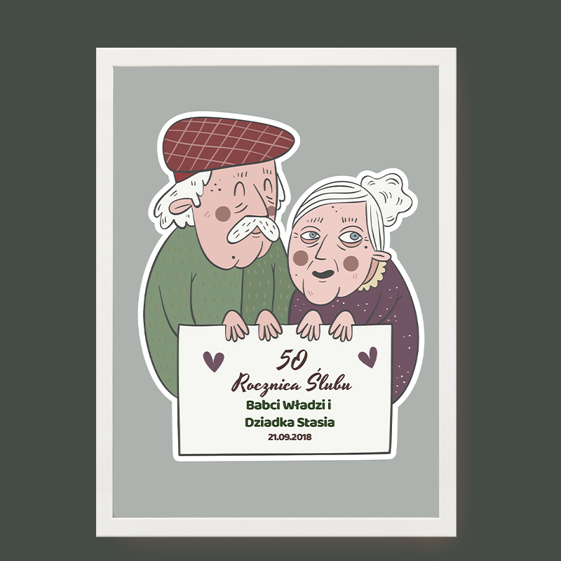 Plakat dla dziadków na rocznicę ślubu (personalizowany)