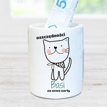 Skarbonka ceramiczna z motywem kota (personalizowana)